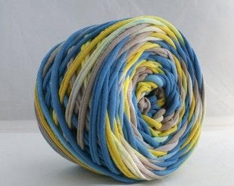Hand Dyed T Shirt Yarn 60 Yards- Blue/Lemon Yellow/Taupe, Jersey yarn, Cotton yarn, Upcycled Yarn, T-shirt yarn