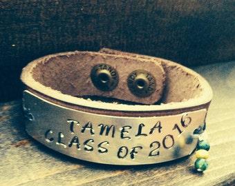 Graduation Personalized Bracelet,Leather band class of 2016 bracelet,graduationBracelet, Custom Bracelet,Stamped Bracelet,Custom Jewelry
