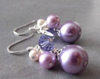 Lavender Bridesmaid Earrings Purple Pearl Cluster Earings Spring Wedding Jewelry Sterling Silver Earwires  Handmade Pearl Bridesmaid Jewelry