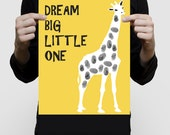 giraffe fingerprint guest book for baby shower or kids birthday print - zoo animal safari themed nursery art yellow saying dream big poster