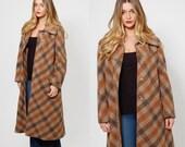 Vintage 70s PLAID Coat Earth Tone WOOL Coat CHECKERED Winter Coat Plaid Jacket