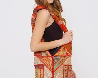 Vintage 90s HIPPIE Bag PATCHWORK Embroidered Cloth Boho Bag Festival Bag Oversized Hobo Tote Bag