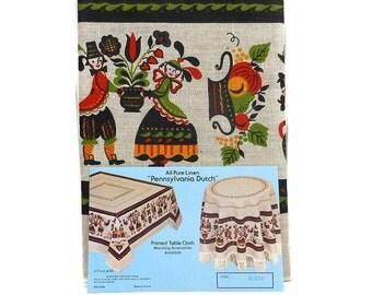 Vintage Heavy Pure Linen Tablecloth | Pennsylvania Dutch | Printed Design | Rectangle Table Linen | Amish Folk Art | Retro Kitchen Textile