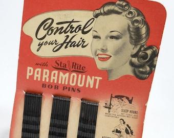 Vintage Bobby Pins | BOB PINS | Hair Accessories | Beauty Cosmetics | Sta Rite Paramount | Original Card | 24 Metal Pins | USA | Mid Century