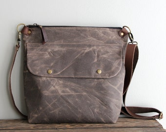 Waxed Canvas Purse Day Bag in Brown with Exterior Pocket and Leather Strap