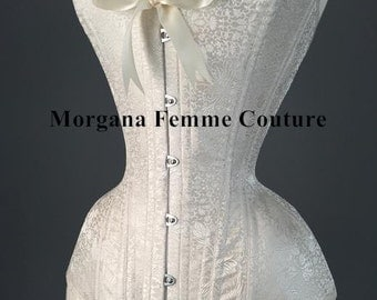 READY TO SHIP- 20 inch Ivory floral silk brocade Victorian sweetheart overbust corset