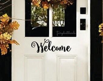 Welcome Front Door Decal, entryway decal, front porch decal, welcome sticker, vinyl welcome decal, door decoration, vinyl lettering for door