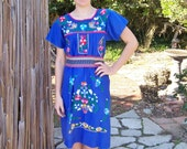 Mexican dress, Embroidered dress, Blue Mexican dress, Festival dress, Frida Kahlo dress, with Butterfly & Flower Basket size M