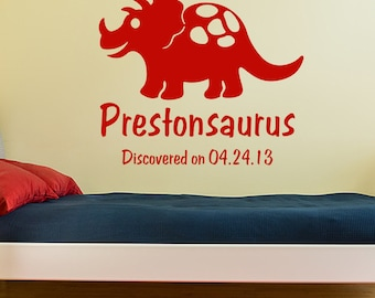 Dinosaur Decal, personalized dinosaur wall decal, Triceratops wall sticker, boy room decor, name monogram