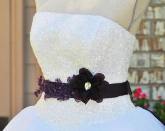 Plum Wedding,Wedding Sash,Bridal Sash,Something Blue,Plum Flower Sash,Eggplant Sash,eggplant Wedding
