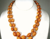 MAD Men 2 Strand EggYolk Color Beads w Gold Beadcaps, Hong Kong 1960s Graduated Oval Beads, Faux Amber Necklace
