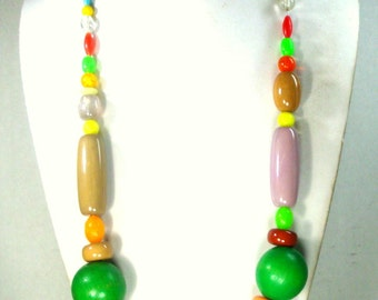 COLORFUL Long Wacky Big Bead Necklace, Resin and Wood Recycled Ecochic Vintage Beads, A Dramatic and Fun Sample.1980s