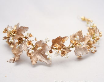 Gold Bohemian Rustic Wedding Wreath bridal Crown Headpiece of Golden Babies Breath and Gold Leaves Flower Crown Leaf Headband Boho Wedding