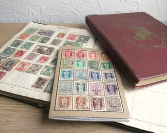 India Travel Journal, A6 Notebook | Upcycled Indian Postage Stamp Collection Philately | Recycled Rainbow Boho Hippie Gift | Choice of pages