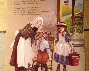 1981 Jack and Jill and As Dolly Was Milking Vintage Illustration
