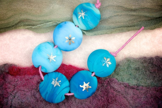 "Lampwork Beads SRA Pot Pourri Set of 6 ""Platinum Snowflake Baby Lentils""  Handmade Sandblasted Glass and Metallic Lustre on Blue Shades"