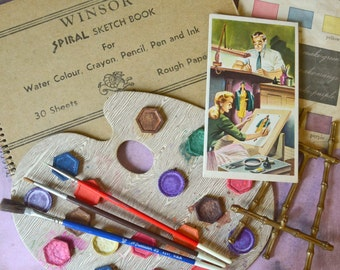 Vintage Art Supplies Winsor Sketch Book Water Color Paint Palette Grumbacher Brushes