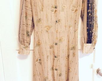 Vintage handmade sheer tan floral print dress size large
