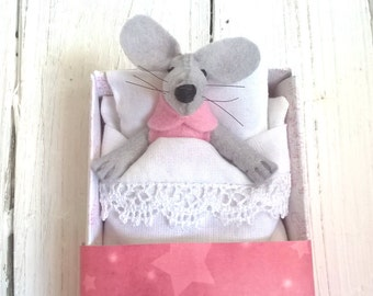 Rag doll pink stuffed felt mouse sleeping in pink pajamas  starry matchbox miniatures animals woodland creature tiny animal