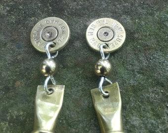 Brass Bullet Earrings with Casing
