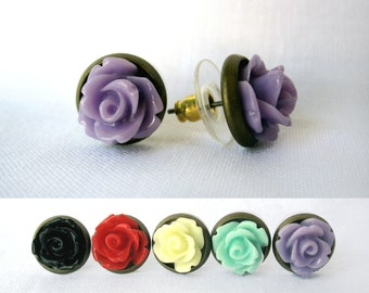 Pair of Antique Brass and Rose Earrings - Custom Colors - Handmade Feminine Earrings - Also Available as Plugs