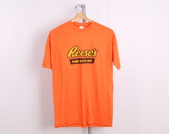 vintage 1980s orange Reese's Peanut Butter Cup T Shirt hersheys size large deadstock