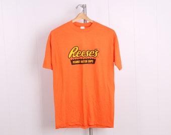 vintage 1990s orange Reese's Peanut Butter Cup T Shirt hersheys size large deadstock