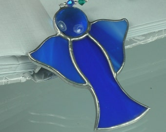 Little Indigo Stained glass Guardian angel Suncatcher Window ornament & Christmas decoration