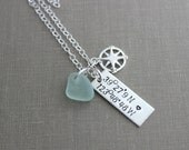 Coordinates Necklace - Sterling Silver - Hand Stamped with Compass Charm and Genuine Sea Glass - Rectangle Bar Charm - Special Place Beach