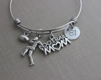 Football Mom bracelet, stainless steel expandable bangle with football player charm, Disc with jersey number, Sports mom jewelry