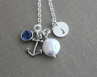 Sterling silver, Personalized Charm Necklace with White Freshwater Coin Pearl, Swarovski crystal,  Anchor and Initial Charm Sterling Silver