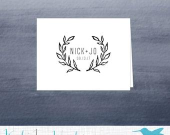 Leaves Monogram Thank You Cards, Black, White, A2 Note Cards + Envelopes, Eggshell White Card, Wedding Thank You Cards, Note Card, Blank Set