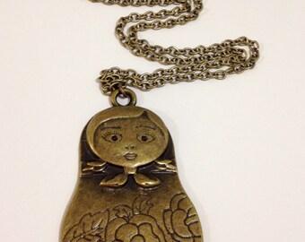 Babushka doll necklace pendant necklace large pendant necklace casual necklace-Babooshka Doll Pendant Necklace