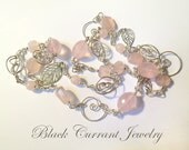 Long Rose Quartz and Sterling Silver Necklace