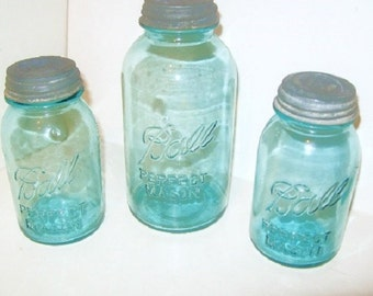 2 Blue Ball Canning Mason Jars w/ Zinc Milk Glass Lids 2 Half Gallon Perfect Mason Jar canisters