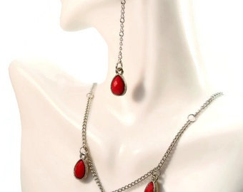 Silver and Red Necklace and Earring Set | Drop Earrings and Necklace | Long Earrings