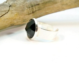 Black and Silver Cocktail Ring, Adjustable Band Ring, Womens Ring