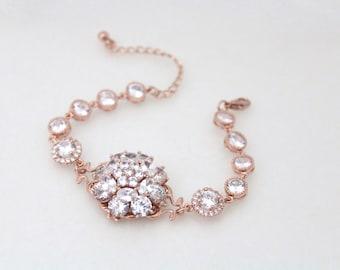 Rose Gold bracelet, Crystal Bracelet, Bridal bracelet, Wedding jewelry, Wedding bracelet, Bridal jewelry, Rose Gold jewelry, Cuff bracelet