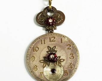 Steampunk Necklace Antique Watch Face, Red Crystals