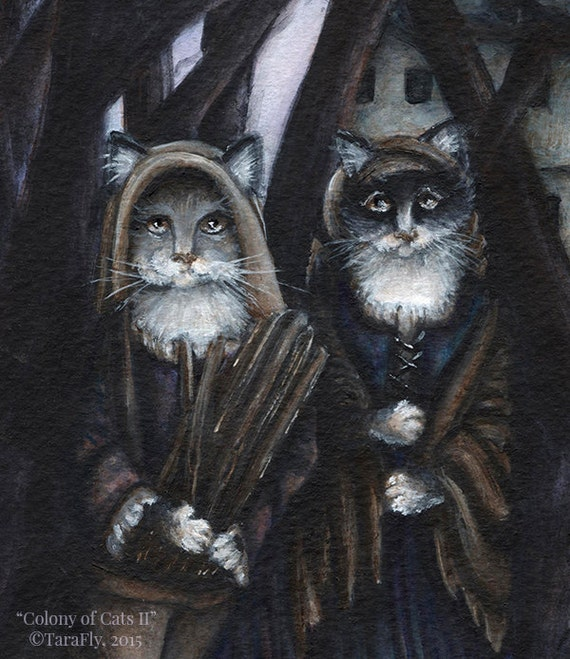 Fairytale Cat Art, Gathering Firewood in Forest Illustration 5x7 Archival Print
