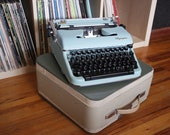 1960's Blue CURSIVE Olympia SM-4 De Luxe Typewriter w/ Case and NEW Ribbon
