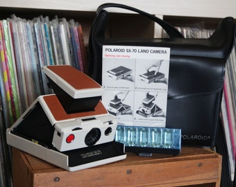 1970's Polaroid SX-70 Land Camera Model 2 - Film-Tested & Working with New Skin, Polaroid Case, Instructions