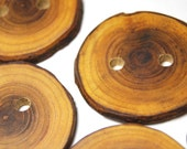 Rustic Natural Wood Buttons, Handmade Wooden Tree Branch Buttons, Catalpa Wood Buttons, 1 3/4 Inches, Set of 6