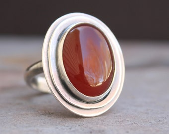Oval Carnelian Ring, US Size 8, Sterling Silver, Gemstone Ring