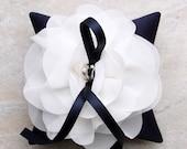 White flower on navy wedding ring pillow, navy blue ring bearer pillow, ring cushion, wedding decor - Aria