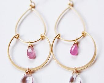 ON SALE Pink Sapphire Chandelier Gold Earrings OOAK