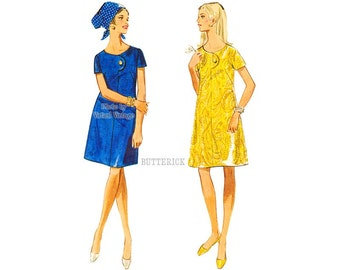 1960s Scoop Neck A Line Dress Pattern Butterick 5124 Bust 36 Uncut Easy Vintage Sewing Pattern