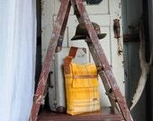 Repurposed Blanket Unisex Messenger Satchel in Golden Yellow with an Adjustable Tan Brown Kangaroo Leather Strap & Closure