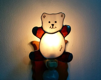 Teddy Bear Night Light in Stained Glass