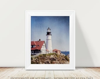 Lighthouse Photography, Nautical, Portland Maine Lighthouse Photograph, Coastal Photography, Landscape, Beach, Seaside, Lighthouse Picture